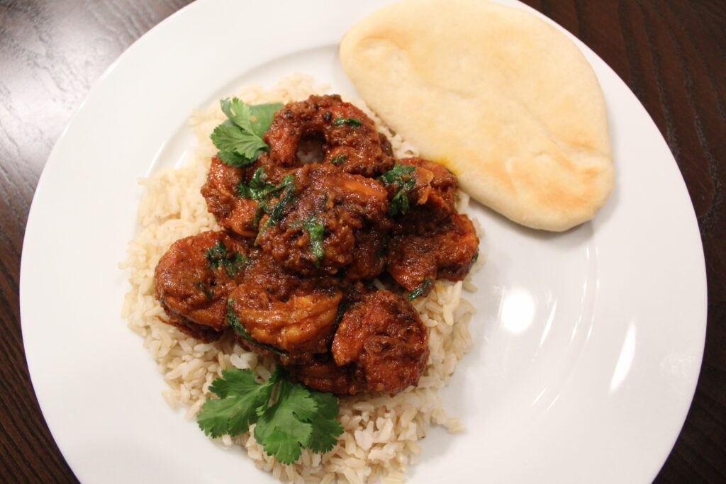 Shrimp Curry with Quick Naan